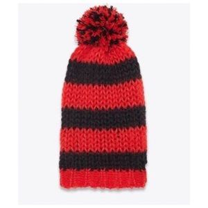 e52fbec3341 Yves Saint Laurent Accessories - YSL Classic Red and Black Pom Pom Ski Hat